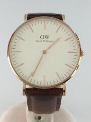 クォーツ腕時計/アナログ/レザー/WHT/BRW/0507DW