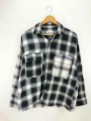 SWITCHING OMBRE CHECK SHIRT/8311-149-0329/長袖シャツ/S/ナイロン/BLK