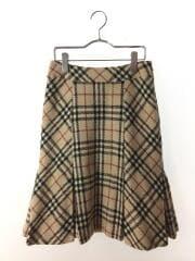 プリーツスカート/36/ウール/BEG/チェック/FX081-090