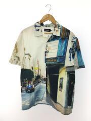 オープンカラーシャツ/半袖シャツ/L/コットン/WHT/総柄/01192407/転写プリント