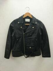 vintage leather riders jacket/サイズ140/ダブルライダース/レザー/BLK