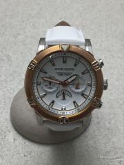 BR43/クォーツ腕時計/アナログ/レザー/WHT/WHT