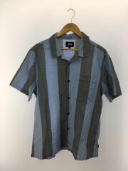 オープンカラーシャツ/半袖シャツ/L/コットン/BLU/ストライプ