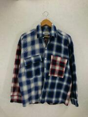 SWITCHING OMBRE CHECK SHIRT/オンブレチェックシャツ/S/コットン/NVY/チェ