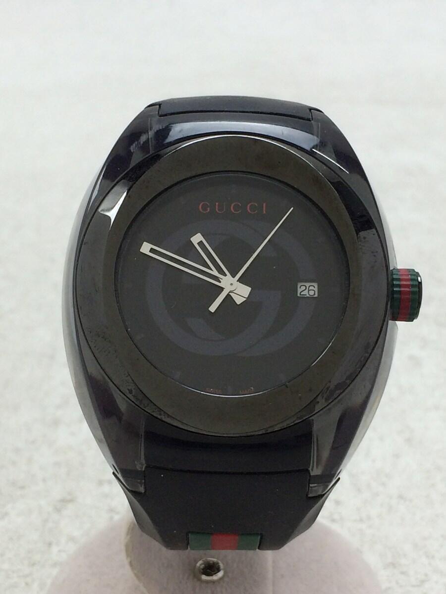 GUCCI SYNC YA137101 Quartz Analog Rubber BLK BLK #1132C VERYGOOD Wristwatch  F/S