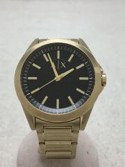 クォーツ腕時計/アナログ/ステンレス/BLK/GLD/ax 2619