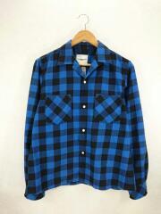 work shirt/0012aSS18/長袖シャツ/46/コットン/BLU/チェック/毛玉有