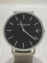 コーチ/クォーツ腕時計/アナログ/ステンレス/ブラック/シルバー