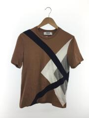 クロスデザインTシャツ/S/コットン/BRW