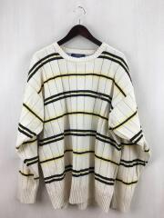 セーター(厚手)/XL/コットン/BEG/ボーダー