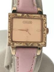 クォーツ腕時計/CA.50.7.34.0487/アナログ/レザー/ゴールド/ピンク/ベルト傷有