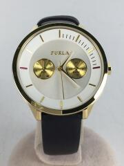 フルラ/クォーツ腕時計/アナログ/レザー/ホワイト/ブラック