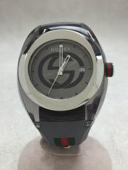 グッチ/SYNC/シンク/クォーツ腕時計/アナログ/ラバー/シルバー/グレー/137.1