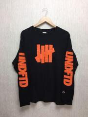C8-l412/×チャンピオン/アームロゴ/ロンT/コラボT/長袖Tシャツ/L/コットン/BLK/ブラック