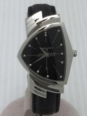 H244112/ベンチュラ/クォーツ腕時計/アナログ/レザー/ブラック/外・内箱有