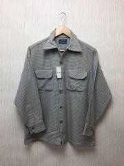 50s/長袖シャツ/M/ウール/GRY/グレー/千鳥格子