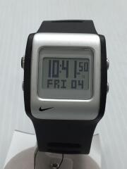 クォーツ腕時計/デジタル/ラバー/シルバー/ブラック/WC0037