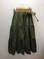 ティアードスカート/ロングスカート/201W407701/28/コットン/カーキ