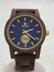 TENSE/クォーツ腕時計/アナログ/ネイビー/ブラウン
