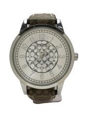 クォーツ腕時計/アナログ/レザー/シルバー