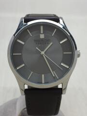クォーツ腕時計/アナログ/レザー/SLV/BRW/6-3294