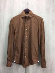 ホリゾンタルカラーシャツ/長袖シャツ/S/コットン/BRW
