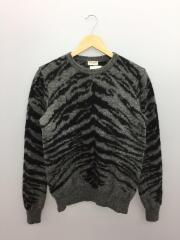 2014AWmodel/タイガー柄ウールニットセーター/XS/ウール/GRY/総柄/352842 Y1XC1/クルーネック ジャガード
