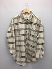 19AW/シャギーチェックルーズシャツジャケット111950406201-01/FREE/WHT