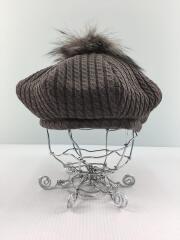 ベレー帽/FREE/ウール/BEG/無地/フォックスファー使用