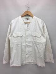 ノーカラーシャツジャケット/汚れ有/ジャケット/1/コットン/WHT/無地