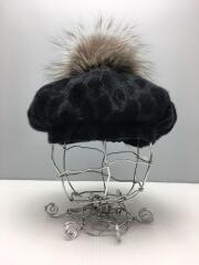 size:57/カシミヤレオパードベレー/ベレー帽/--/ウール/BLK