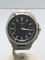 アテッサ/エコドライブ/ソーラー腕時計/アナログ/チタン/BLK/SLV