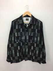 C.O.B. Classic Shirt-Patchwork Jq/長袖シャツ/M/ウール/BLK/チェック
