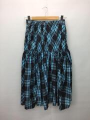YD-S07-536/ロングスカート/3/ポリエステル/BLU/チェック