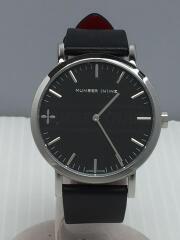 クォーツ腕時計/アナログ/レザー/BLK/NNR40