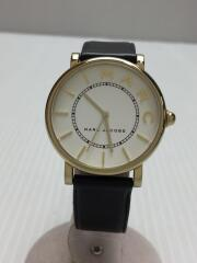 クォーツ腕時計/アナログ/レザー/WHT/BLK/ベルト使用感有/MJ1532