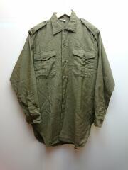 長袖シャツ/40/サファリシャツ/ラウンド裾/裾裏ホツレ有/50s-60s