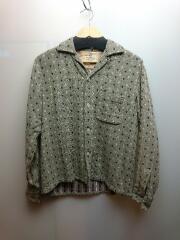 50s/長袖シャツ/M/ウール/GRY/総柄/袖口ダメージ有/ボタン欠品