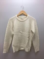 セーター(厚手)/FREE/ウール/WHT/エルボーパッチ