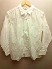 オープンカラーシャツ/M/コットン/WHT/無地