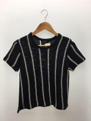 Tシャツ/S/コットン/NVY/ストライプ
