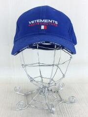 キャップ/ブルー/VETEMENTS/Logo embroidered canvas cap/帽子/ベースボールキャップ