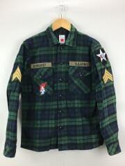 ミリタリーシャツジャケット/2/グリーン/チェック/marka/マーカ/M11C-20SH01C/ワッペン