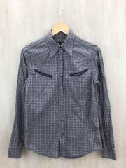 ウエスタン長袖シャツ/38/コットン/グレー/チェック/メンズ/日本製
