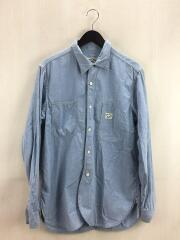 長袖シャツ/40/コットン/ブルー/無地/日本製/刺繍ロゴ/胸ポケット/青