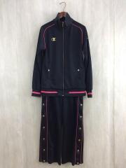 セットアップ/M/ブラック/3517-215526/メンズ/ジャージ/ジップ/刺繍/黒