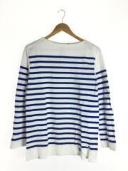 長袖Tシャツ/4/コットン/ホワイト/ボーダー/メンズ/フランス製/ボートネック/ワッペン/刺繍