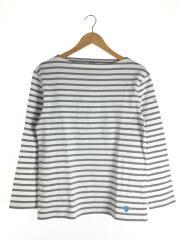 長袖Tシャツ/4/コットン/ホワイト/ボーダー/メンズ/フランス製/ボートネック/ワッペン/白