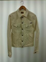 Gジャン/S/コットン/ホワイト/無地/アウター/メンズ/ルーマニア製/レザーパッチ/胸ポケット