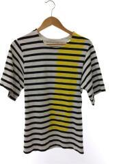 Tシャツ/S/コットン/WHT/ボーダー/プリント/バレンシアガ/287443TAK67